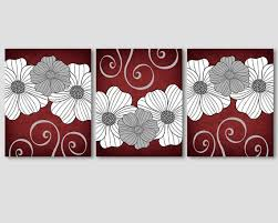 burdy red wall art decor grey and