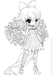 Curly Haired Girl Lineart By Yampuffdeviantartcom On At Deviantart