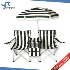 double folding chair with umbrella camp table cooler picnic w double folding chair