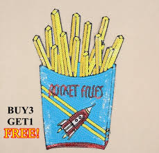 <b>1pcs</b> 16.8x24.8CM French Fries <b>Sequins</b> Patch Sewing on <b>Sequined</b>