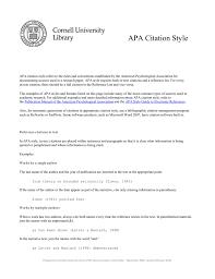 Apa Citation Style Cornell University Library