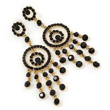 oversized bridal prom wedding black austrian crystal chandelier earrings in gold plating 10cm
