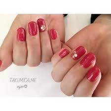 Aynさんのネイルデザイン 赤はシンプルが素敵nail Tredina