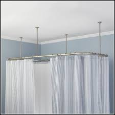 smart rod double curved tension shower curtain brushed nickel