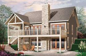 Sloping and Hillside Designs from DrummondHousePlans comBay Breeze Transitionl style Cottage house plan  cathedral ceilings  fireplace  large deck