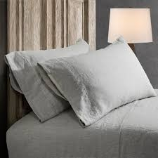 hemstitch sheets 100 linen stone washed sheet set grey with hand hemstitch in