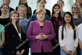 German Chancellor Angela Merkel poses young women Editorial Stock Photo -  Stock Image