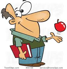 cartoon white teacher playing with an apple and holding a book 56198 by ron leishman