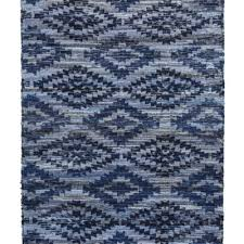 archangel blue denim cotton hand crafted woven mat rug