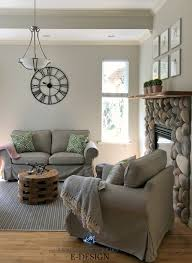 benjamin moore edgecomb gray beige khaki colour furniture river rock stone fireplace kylie m interiors edesign paint color consulting