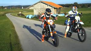husqvarna vs ktm supermoto duell motorcycle youtube