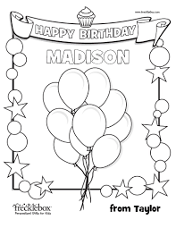 Color pictures of piñatas, birthday cakes, balloons, presents and more! Personalized Birthday Coloring Page Frecklebox Frecklebox