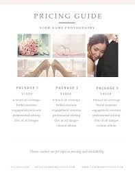 Photography Pricing Template Free Photographer Pricing Guide Template Photography Business