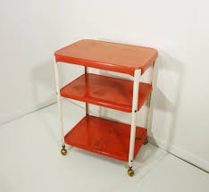 Vintage Metal Kitchen Cart Cosco Chippy Red Metal Kitchen Cart Movable Painted Vintage