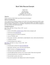 Cover Letter Bank Teller Objective For Resume Resume Objective For A