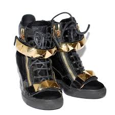 details about giuseppe zanotti black leather high wedge sneakers high top lace up trainers us7