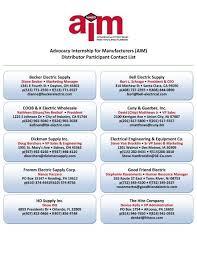 AIM) Distributor Participant Contact List