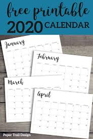 2020 Calendar Printable Free Template Monthly Planner