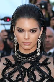 Kendall Jenner with mocha eyes nude lips bold brows slicked.