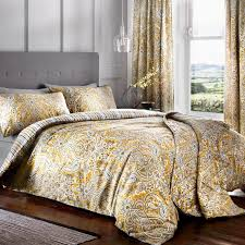 maduri ochre and grey bedding and curtains