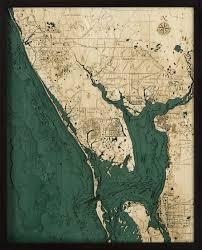 Nautical Charts Cape Coral Florida Charlotte Harbor 3 D Nautical Wood Chart 24 5 X 31