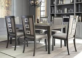 chadoni gray rectangular dining room extension table w 6 upholstered side chairs signature design