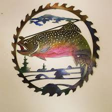 trout metal art wall hanging