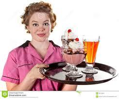 Ice Cream Server Vintage Style Waitress Serving Ice Cream And Sodas Stock Image