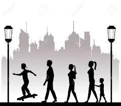 People Walking Recreation City Park Lamp Postvector Illustration