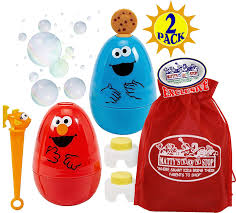 Elmo Light Up Wand Little Kids Sesame Street No Spill Bubble Wobblers With Bubble Solution 1 5 Fl Oz Ea Elmo Cookie Monster Gift Set Bundle With Bonus Mattys Toy
