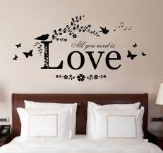 wall art ideas design modish modern decal bedroom decorations love brown interior white pillow bedcover best