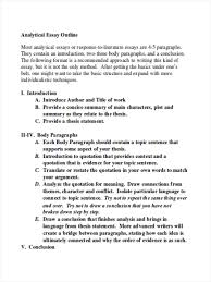 outline in word analytical essay sample outline