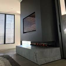 concrete gas modern fireplace design ideas