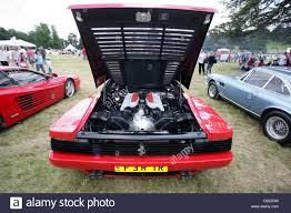 A Ferrari 512 TR (Testarossa) showing the 4.9 Litre V12 engine in ...