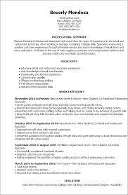 Resume Templates: Retail And Restaurant Associate