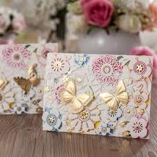 3d gold erfly decorate wedding invitation card cw5069