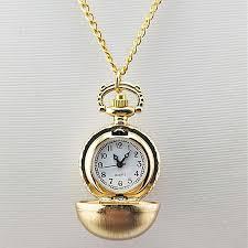 vintage antique round dial quartz pocket watch necklace pendant clock gold