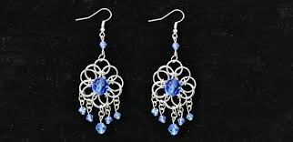 picture of how to make a pair of jump ring chandelier earrings with beads