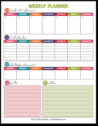 Free Printable Weekly Planner Calendar Meals To Do List More