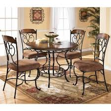 Nola Round Table with Wood Top and Metal Pedestal Base u0026 4 Side Chairs by  Ashley Furniture  Olindeu0027s Furniture  Dining 5 Piece Set Baton Rouge and