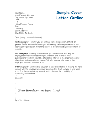 Resume Cover Letter Format outline for cover letters Tolgjcmanagementco 87