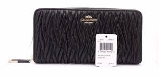 Coach Madison Black Gathered Leather Twist Zip Around Accordion Wallet 11391