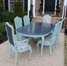 paint old dining room set. using piping to hide staples on kitchen chairs. vintage french thomasville dining room table refinished in duck egg blue graphite chalk paint® decorative paint old set