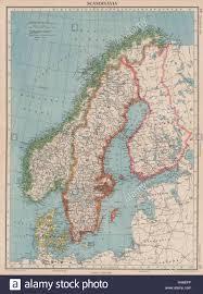 La Scandinavia. La Svezia Norvegia Danimarca Finlandia (mostra < 1940  frontiere) 1944 mappa Foto stock - Alamy