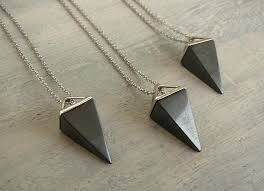 hematite necklace hematite pendant long