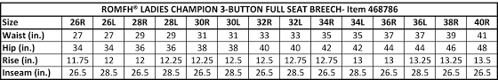 Breeches Size Chart Champion Full Seat Breeches