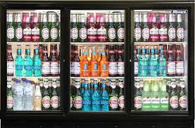 more views blizzard bar 3 triple sliding door bottle cooler fridge