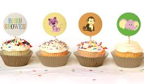 jungle baby shower cupcake toppers