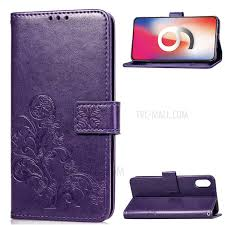 imprint clover pattern leather wallet stand cell phone case for iphone xr 6 1 inch purple