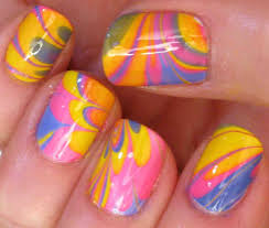 Bright Water Marble Nail Art Tutorial - YouTube